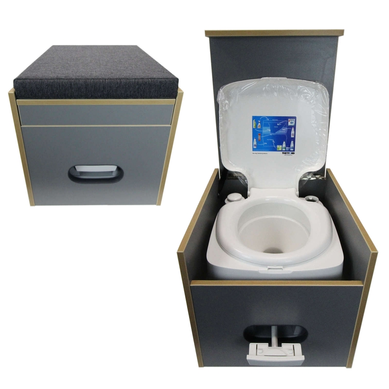 toiletten hocker mit toilette porta potti 345 polster schwarz staur. Black Bedroom Furniture Sets. Home Design Ideas