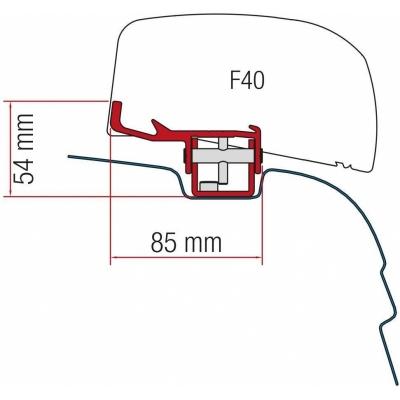 montageadapter f r markise f40 van vw t5 t6 ab 2003 75 50. Black Bedroom Furniture Sets. Home Design Ideas