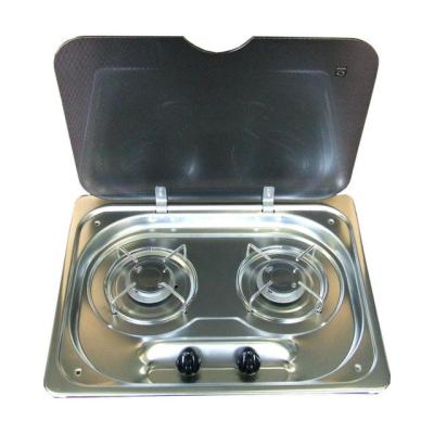 Zweiflammiger Gaskocher mit Glasdeckel - Piezo