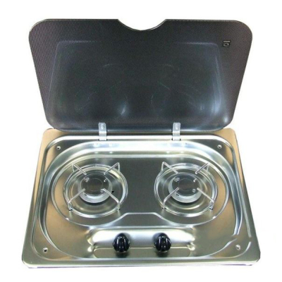 Zweiflammiger Gaskocher mit Glasdeckel ohne Piezo mit Zündsicherung