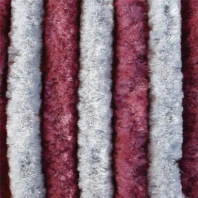 Chenille Flauschvorhang - 200x100 - grau/bordeaux