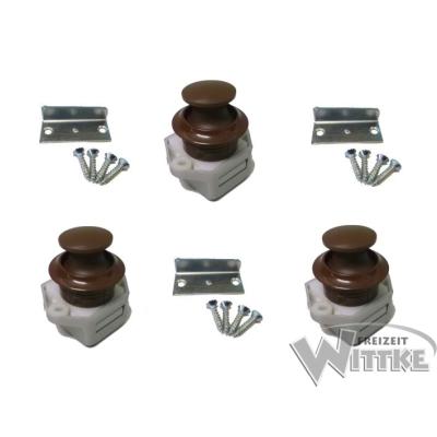 Push Lock Schlösser - Mini - 26mm Rosette+Knopf - 3er Set - braun