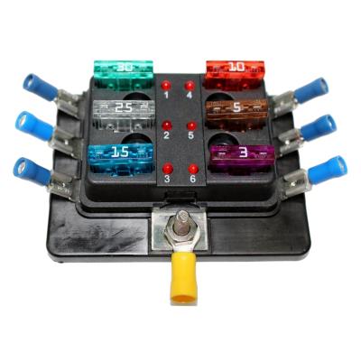 KFZ Sicherungshalter 6 Flach-Sicherungen mit LEDs inkl. Sicherungen