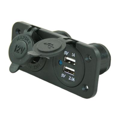 Einbau 12V Steckdose + 2x USB Ladegerät SKIN