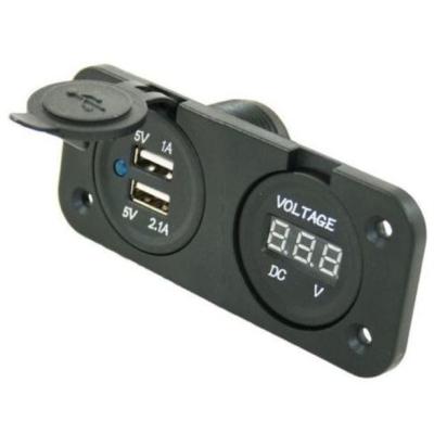 Einbausteckdose -  2x USB Ladegerät + Spannungsanzeige