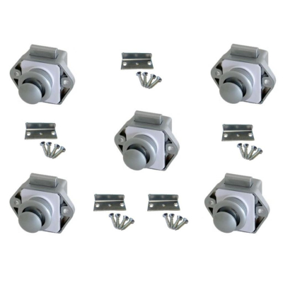Push Lock Schlösser - Mini - 26mm Rosette+Knopf - 5er Set - silber