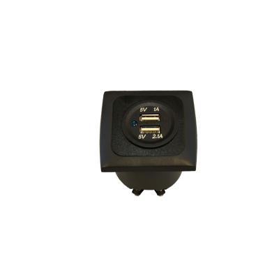 Steckdose USB zweifach + Rahmen + Einbaudose 3.1A - Schwarz