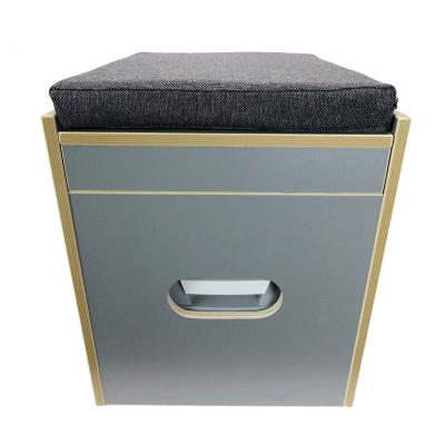 Toiletten Hocker Bi-Pot 39 ink. Polster schwarz und Toilette - Stauraum Hocker