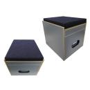 Toiletten Hocker mit Toilette Porta Potti 335 - Polster blau Stauraum Hocker