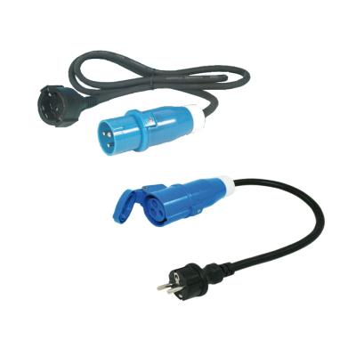 CEE Adapterkabel Set - Schuko CEE Stecker Kupplung - 150 cm + 50 cm - 3x2,5mm²