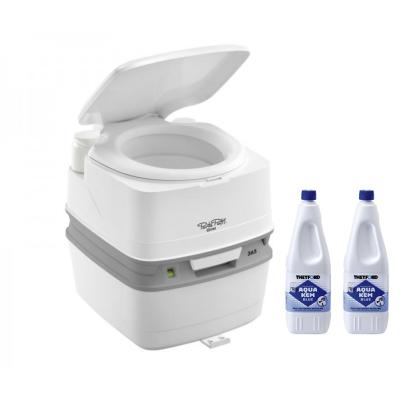 Thetford Porta Potti 365 Weiß - Toilette inkl. 2 x Thetford Aqua Kem Blue 2 Liter - Set