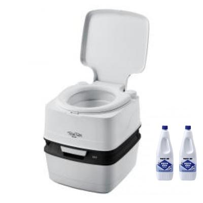 Thetford Porta Potti 165 Grau - Toilette inkl. 2x Thetford Aqua Kem Blue 2 Liter - Set