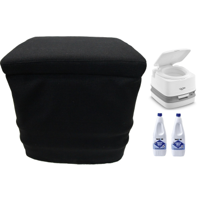 Thetford Porta Potti 335 Weiß - Toilette - inkl. Stoffhocker und 2x Thetford Aqua Kem Blue 2 Liter - Set