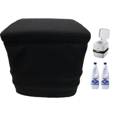 Thetford Porta Potti 165 Grau - Toilette - inkl.Stoffhocker und 2x Thetford Aqua Kem Blue 2 Liter - Set
