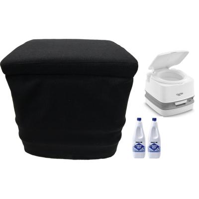Thetford Porta Potti 365 Weiß - mit Toilette Stoffhocker 2x Aqua Kem Blue 2 Liter Set