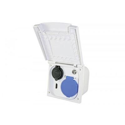 Multifunktions-Außensteckdose - weiß - mit Doppel USB / HDM / 230 V / Sat