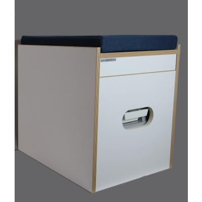 Toiletten Hocker Porta Potti 335 Weiß inkl. Polster blau ohne Toilette