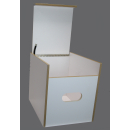 Toiletten Hocker Weiß mit Toilette Porta Potti 335  - Polster Blau Stauraum Hocker