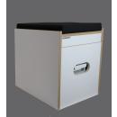Toiletten Hocker Weiß mit Toilette Porta Potti 165 - Polster schwarz Stauraum Hocker