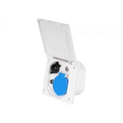 Multifunktions-Außensteckdose - weiß - 230 / 12 V SAT und Antenne
